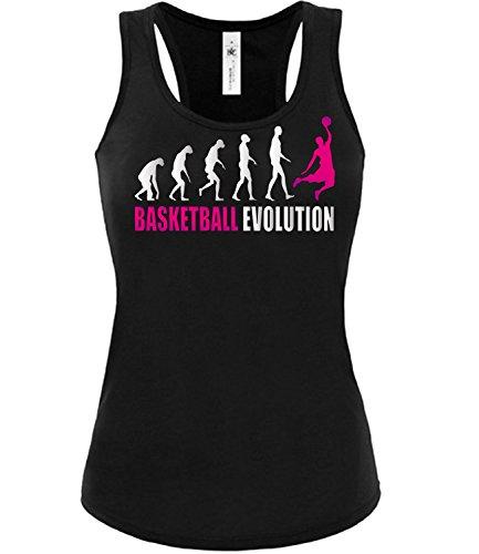 Sport - BASKETBALL EVOLUTION - mujer camiseta Tamaño S to XXL varios colores S-XL Negro / rosa