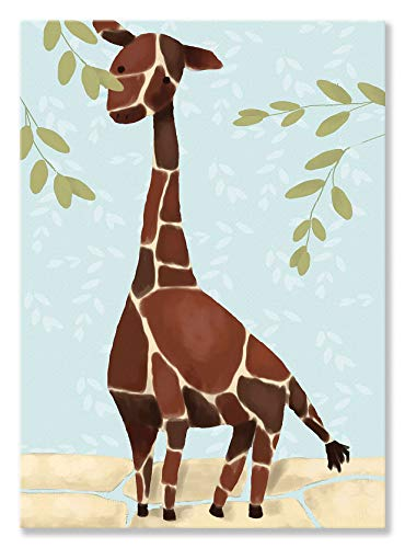 Oopsy Daisy Gillespie The Giraffe Blue by Meghann O'Hara Canvas Wall Art, 10 by - Giraffe Gillespie