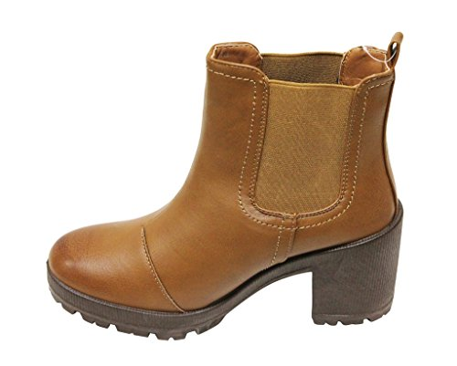 Bella Marie Tenesee-13 Kvinna Rund Tå Chunky Häl Elastiska Sidor Chelsea Stil Boots Solbränna