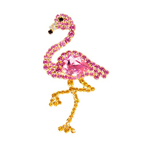 Albert Weiss Pink Flamingo Pin with Swarovski Stones