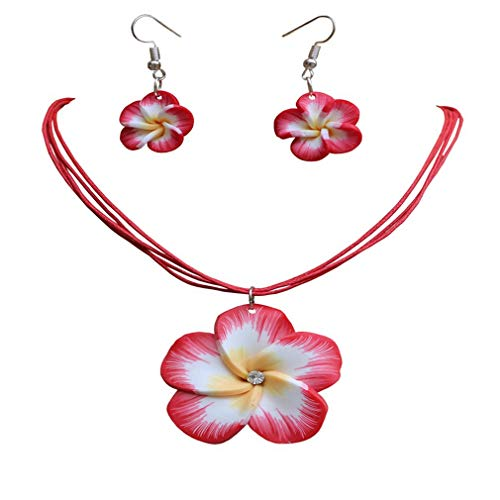 AMGJ Plumeria Hawaii Flower Polymer Clay Earrings Pendant Necklace Jewelry Sets 18Colors