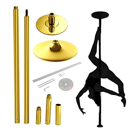 Portable Pole Dancing Kit - BEAMNOVA Strip Pole Dance Pole Professional Fitness Dancing Pole Kit for Home Bedroom Gym Party Club Indoor Exercise (Gold)
