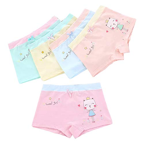 Core Pretty Sweet Little Girls Cotton Underwear Soft Boy Shorts Kids Boxer Briefs Panties Comfortable Children Bow Pajamas Undies (Pack of 5) (Sweet Girl, 6-8 Years)