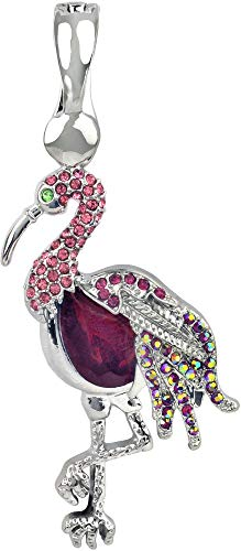 - Wearable Art by Roman Rhinestone Pink Flamingo Pendant Pink/Silver Tone Multi