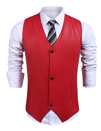 Zuckerfan Men's Leather Vest V-Neck Sleeveless Fashion Motorcycle Racer Riding Button Vest(Red,L) Tan Leather Vest