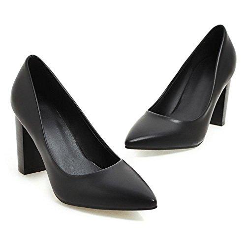 COOLCEPT Mujer Moda sin Cordones Puntiagudo Tacon Ancho Alto Bombas Zapatos Boca Baja Zapatos SM Negro