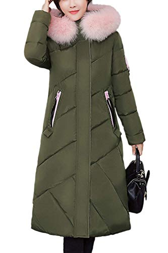 Hiver Parka Femme Long Chaud paissir Chemine Stepp Fille avec Capuchon Fourrure Outdoor Elgante De Haute Qualit Casual Long Manches paissir Transition Parker Manteau Navygreen