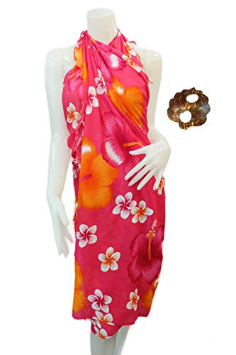 Iyara Hawaiian Hibiscus Beachwear Cover up Bathing Wrap Swimwear Swimsuit Women Pareo Sarong and Coconut Shell Brooch(Colorful-Red)