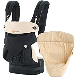 Ergobaby Bundle - 2 Items: Black/Camel All Carry Position Award Winning 360 Baby Carrier and Easy Snug Infant Insert, Natural
