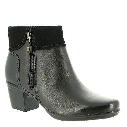 Twist Thin (CLARKS Women's Emslie Twist Fashion Boot, Black Leather/Suede Combi, 100 W US)