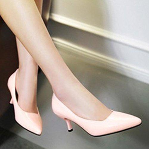 Aisun Womens Simple À La Mode Pointu Orteil Coupe Basse Robe Slip Sur Stiletto Kitten Talons Pompes Parti Chaussures De Mariage Rose