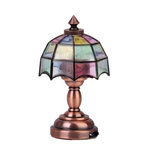 dreamflyingtech Umbrella Shape Lamp 1/12 Dollhouse Miniature Lampshade Doll House Pretty Light Color Desk Table