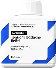 Cabinet Tension Headache Relief | 150 Tablets | Acetaminophen 500mg, Caffeine 65mg | Aspirin Free with Caffein