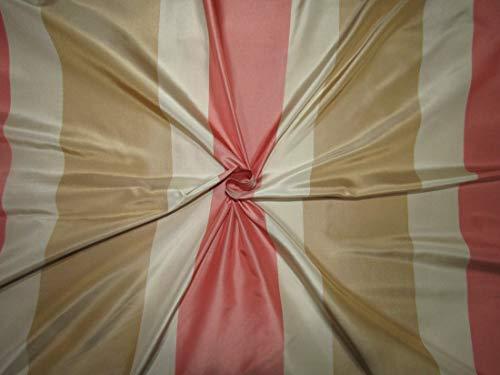 Puresilks 100% Silk Taffeta Fabric Stripes Beige Gold,Caramel Gold and Salmon Pink, 54