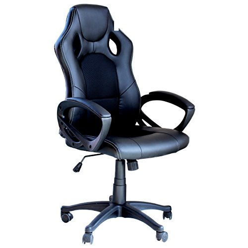 Video Gaming Chair Home Office Computer Chair With Height Adjustable Ergonomic Lumbar Support Mesh High Back Racing Chair (Black) by EBS