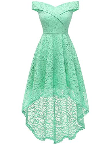 Homrain Women's Vintage Floral Lace Off Shoulder Hi-Lo Wedding Cocktail Formal Swing Dress Mint M