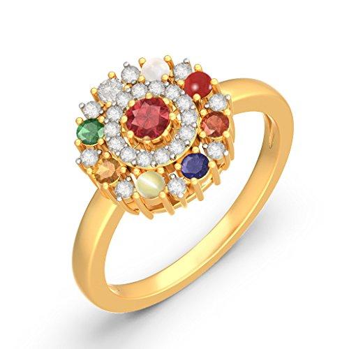 Or jaune 18K, 0,18carat Diamant Blanc (IJ | SI) Rubis et Navaratna et diamant Bague
