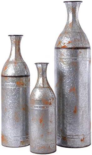 Vintiquewise QI003484.3 Rustic Farmhouse Style Galvanized Metal Floor Vase Decoration