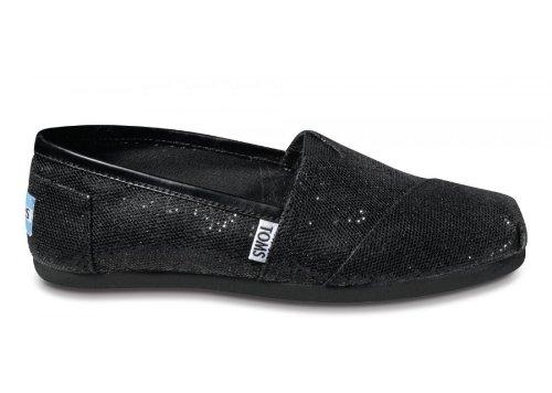 Toms Women's Black Glitter Classic 001013B09-BLK (SIZE: 7)