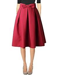 Womens 50s Vintage Skirt Knee Length High Waist Pleated...