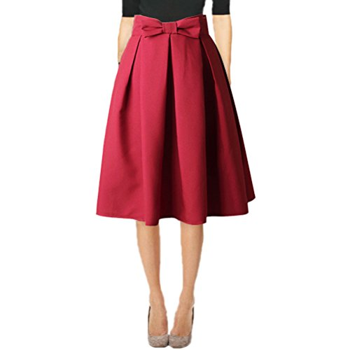 Hanlolo Fashion 50s Vintage Skirts Women Pleated Party Midi Skirts Red -