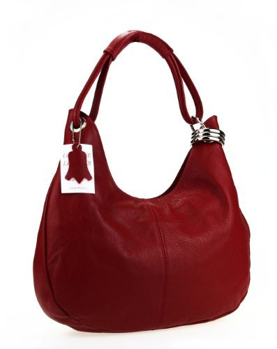 Made Italy - Bolso al hombro de cuero para mujer 42x26x10 cm (BxHxT), color marrón, talla 42x26x10 cm (BxHxT) rojo - Dunkelrot