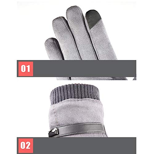 AINIYF Full Finger Gloves   Suede Men's Winter Warm Outdoor Gloves Cycling Motorcycle Outdoor Sports Plus Velvet Wind Screen (Color : Black) by AINIYF (Image #3)