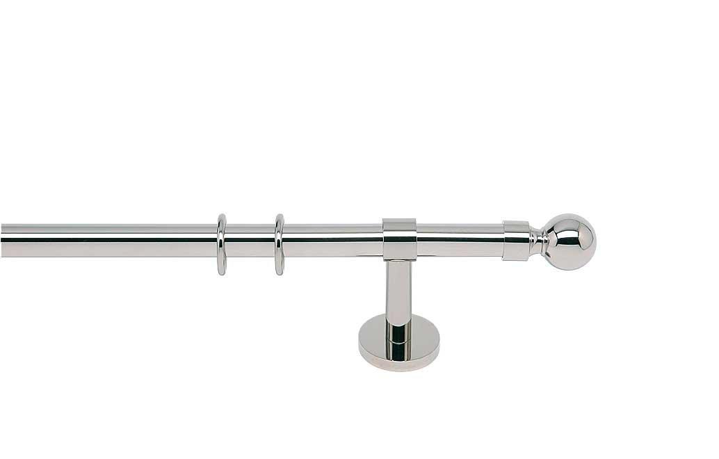 Indeko SEVILLA, Gardinenstange Ø 20 mm,  aus Messing auf Maß, 1-Lauf, nickel, Komplettset mit Zubehör