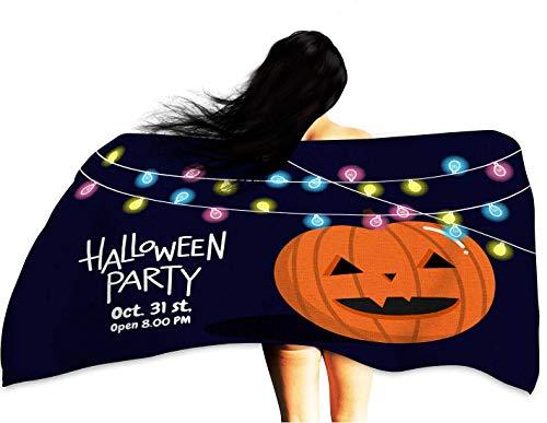 WinfreyDecor Soft Superfine Fiber Bath Towel Halloween Party with Pumpkin 32