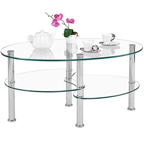 Tangkula Glass Coffee Table, Modern Furniture Decor 2-Tier Modern Oval Smooth Glass Tea Table End Table for Home Office with 2 Tier Tempered Glass Boards Sturdy Chrome Plated Legs