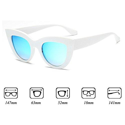 sol sol Gafas Gafas blanco Cat de marco mujer retro para azul Lente mujer de Eye vintage Tw11qB0zn
