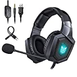 PS4 Wired Chat Headset, 7 LED Lights ONIKUMA 8 Stereo Gaming Headphones