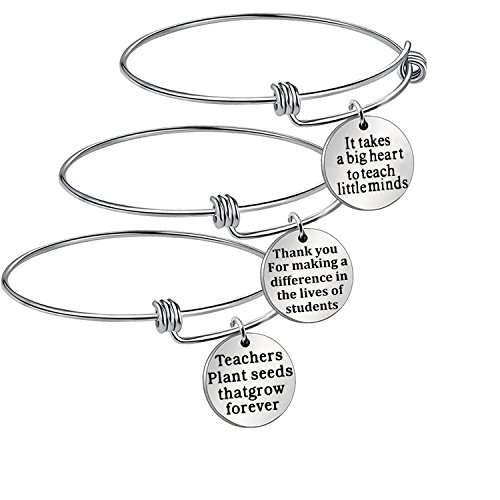Hongyu8 3Pcs Teacher Appreciation Gifts Silver Adjustable Cuff Bracelet Bangle Gift for Teachers day (round)]()