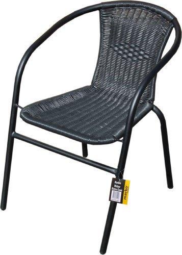 Marko Outdoor Black Outdoor Wicker Rattan Bistro Chair Metal Frame Woven Seat Indoor Outdoor (4 Chairs)