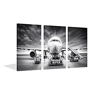 Live Art Decor   Large 3 Piece Canvas Wall Art Airplane Pictures Framed  Black And White