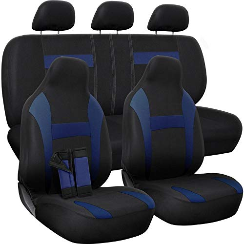 (OxGord Car Seat Cover - Poly Cloth Two-Tone with Front Low Bucket and 50-50 or 60-40 Rear Split Bench - Universal Fit for Cars, Truck, SUV, Van - 10 pc Complete Set)