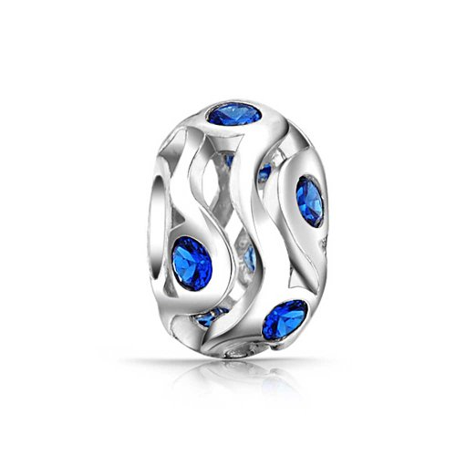 European Jewelry (Bling Jewelry Simulated Sapphire CZ 925 Sterling Silver Bead Charm)