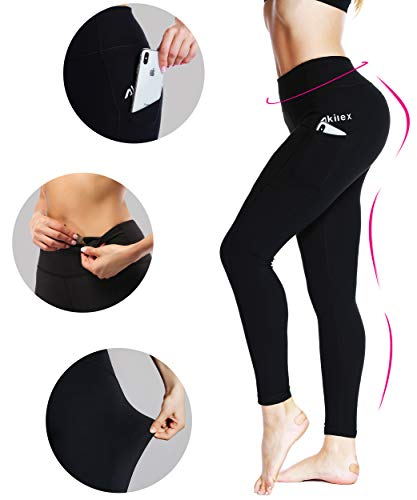 Akilex High Waist Workout Pants for Women Tummy Control Yoga Pants with Pockets 4 Way Stretch Yoga Leggings with Pockets