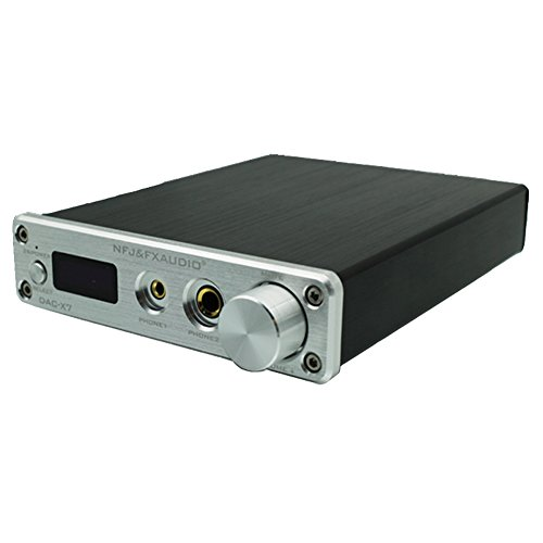 Dilvpoetry FX-X7 Audio Decoder - USB Audio Fever HiFi Digital DAC HiFi Portable AMP Machine Preamplifier DSD256 32Bit 384k Headphone Amplifier(Silver)