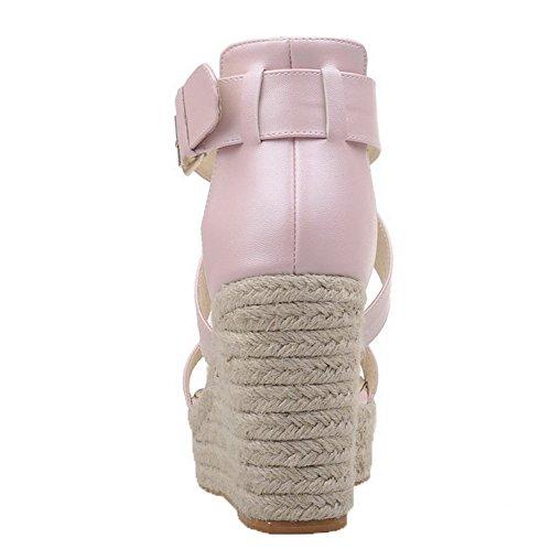 CCAFLP015593 Rose Unie Cuir PU Couleur Femme d'orteil VogueZone009 Boucle Sandales Ouverture zqA0CU