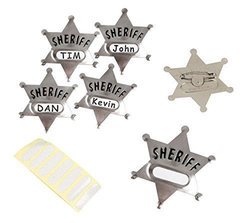 (Play Kreative Western Party Cowboy Silver Metal Sheriff Badge Replica with Name Stickers Pack of)