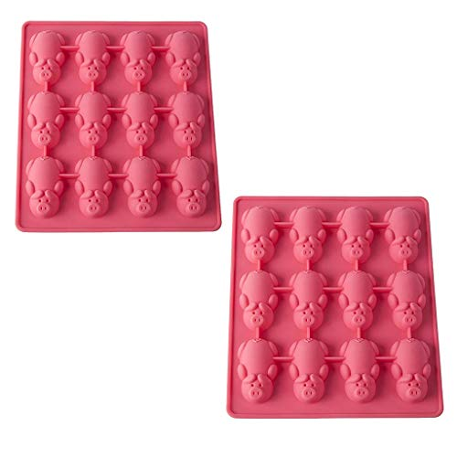 Cake Baking Silicone Mould Multifunction New 2PC Cute 12 Pink Little Pig Shape Cookies Mold Gift for Children -by iQKA