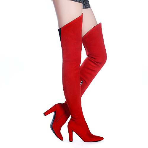 Shoe'N Tale Women Stretch Suede Chunky Heel Thigh High Over The Knee Boots (8.5 B(M) US, ()