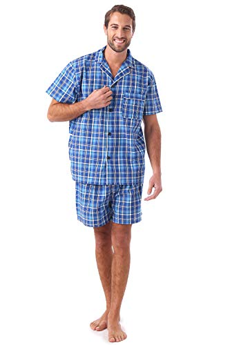 (Men's Cotton Summer Pajamas Set Plaid Short Sleeve Knee-Length Sleepwear with Pocket Blue)