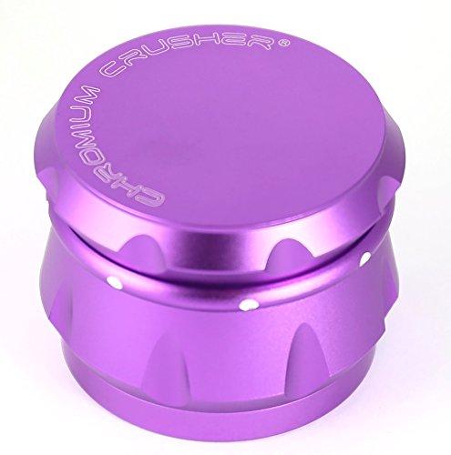 (Chromium Crusher Drum 2.5 Inch 4 Piece Tobacco Spice Herb Grinder -Purple )