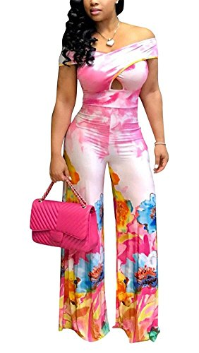 (LKOUS Women Summer Sexy Floral Print Off Shoulder Short Sleeve One-Piece Bodycon Jumpsuits Elegant Romper Plus Size)