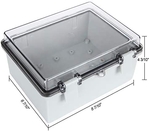 """41CbfCm40BL. AC Junction Box ABS Plastic Dustproof Waterproof Electrical Enclosure Box Hinged Shell Outdoor Universal Project Enclosure Grey with PC Clear Transparent Cover 8.7 x 4.7 x 2.2 inch (220x170x110mm)    Specifications : Outer Size (approx.): 8"""" x 4.7"""" x 2.2"""" (200mmx120mmx56mm)(L*W*H)  Inner size (approx.):7.6"""" x 4.5"""" x 2.0"""" (194mmx114mmx49mm) (L*W*H)  Thickness: 0.16''/4mm Screw Thread Dia.: 4mm/0.16""""【Durable Material】Junction boxes, perfect for use outdoors, made of ABS, durable for use, and easy to install.【Product Size】Outer Size of electrical enclosure (approx.): 8"""" x 4.7"""" x 2.2"""" (200x120x56mm);Inner size of electrical enclosure (approx.): 7.6"""" x 4.5"""" x 2.0"""" (194x114x49mm)(L*W*H) ; Thickness: 0.16''/4mm; Screw Thread Dia.: 4mm/0.16"""".【Easy to operate】: Junction box is easy to install, Hinged enclosure makes the opening and closing easier; Come with transparent cover, the inner project of junction box can be more visible.【Specifications】Waterproof Ingress Protection Rating is IP65, moisture-proof, sunscreen, anti-corrosion, durable for years use.【Application】Suitable for indoor and outdoor electrical, communications, fire equipment, steel smelting, oil chemical industry, electronics, electric power, railway, construction site, mining, quarry, airport, hotel, ships, large factories, terminal equipment, sewage discharge wastewater, environmental hazards, etc."""