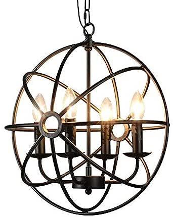 BAYCHEER HL422105 Industrial Vintage Retro LOFT Style Wrought Iron Metal Globe Cage Round Pendant Lamp Fixture Pendant Light Chandelier use 4 E12 Blubs