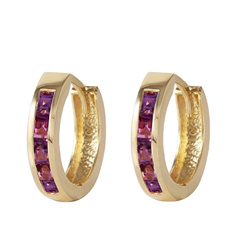 - Galaxy Gold Genuine 14k Solid Yellow Gold Hoop Huggie Earrings with Stunning 0.85 Carat Natural Purple Amethyst