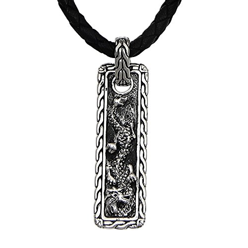925 mens pendants amazon novica mens 925 sterling silver pendant necklace with black leather cord 20 bold dragon aloadofball Choice Image